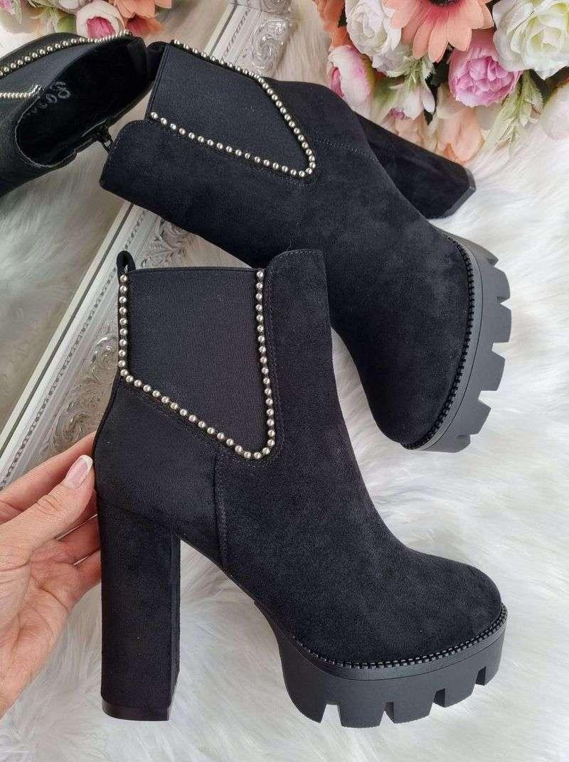 sieviešu puszābaki uz papēža, puszābaki ar papēdi, melni sieviešu zābaki uz papēža, sieviešu apavi interneta veikals, apavi online, apavi liliapavi, liliapavi internetā, e-veikals,