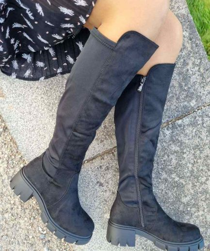 Sieviešu garie zābaki, garie zābaki ar biezu zoli, garie zābaki internetā, stilīgi sieviešu zābaki, apavi liliapavi,