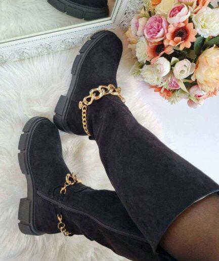 garie zābaki ar ķēdi, garie zābaki zem ceļgala, pusgarie zābaki. stilīgi sieviešu zābaki, apavi internetā sievietēm, liliapavi internetveikals, apavi online,